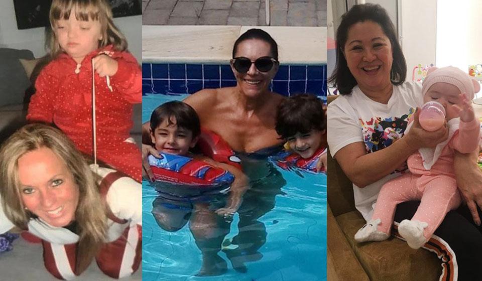 Helô Pinheiro, Beth Szafir e Kika Saro em momentos de descontração com os netos