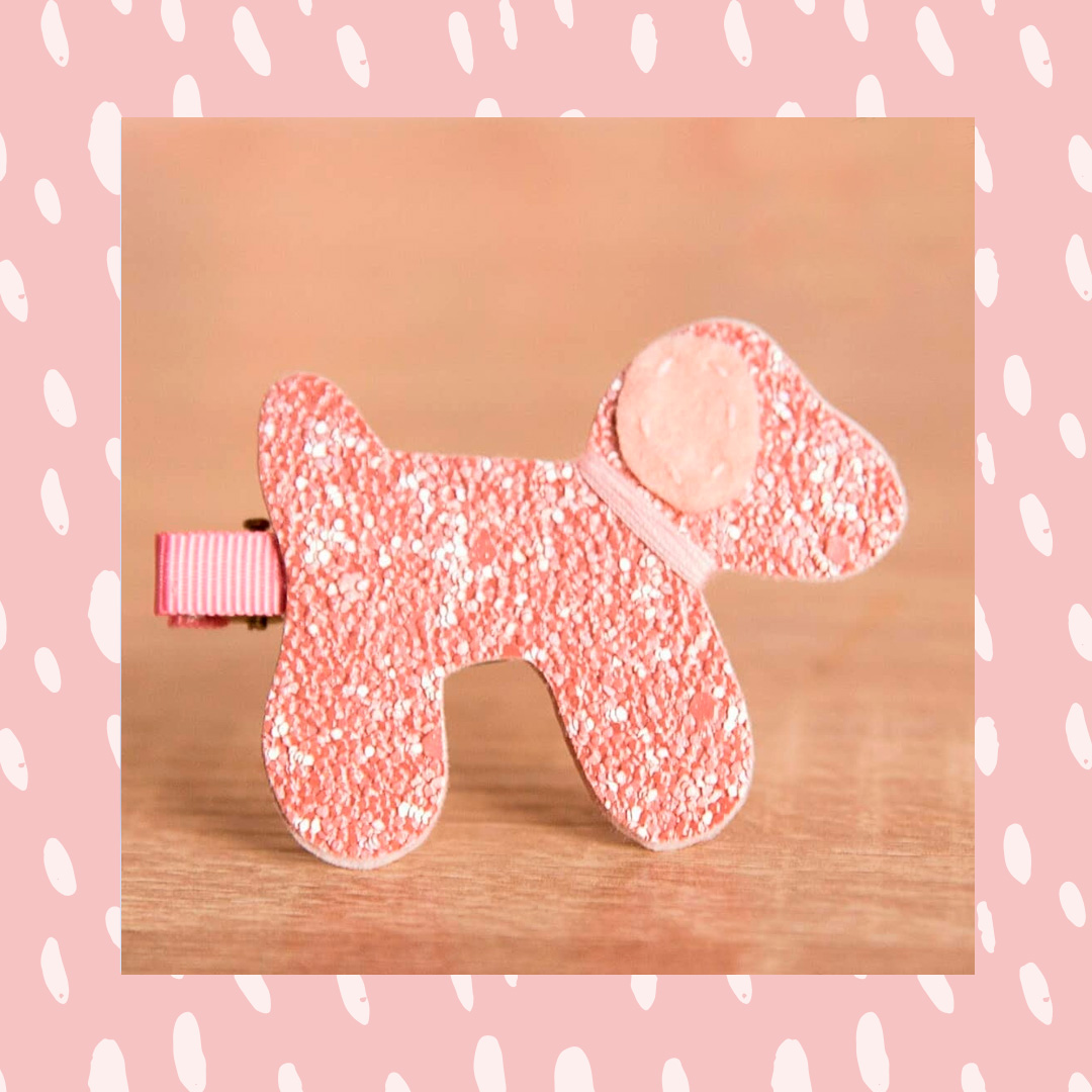 Presilha de cabelo cachorro rosa Casa da Mel It Mãe
