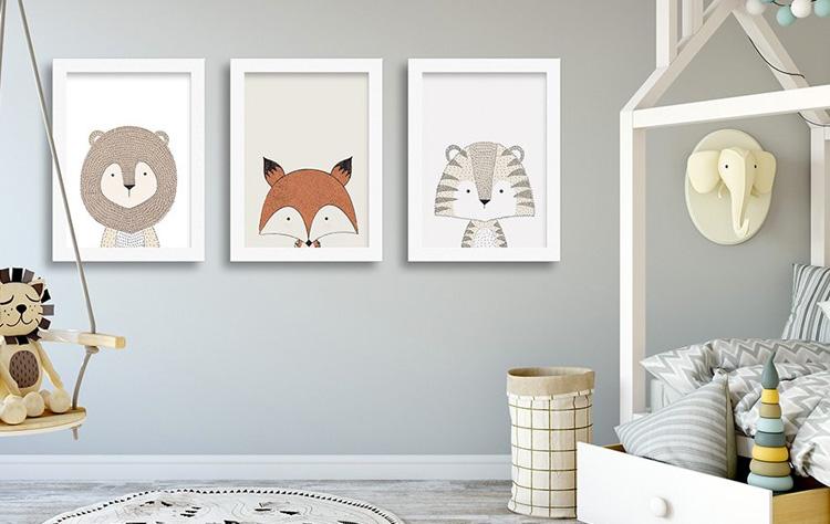 Como decorar o quarto com quadros escandinavos de bichinhos fofinhos Decor Quadros It Mãe