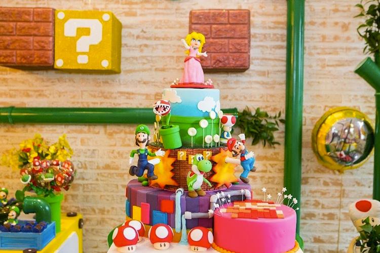 Bolo de aniversário Festa Super Mario Bros Mi Casa It Mãe