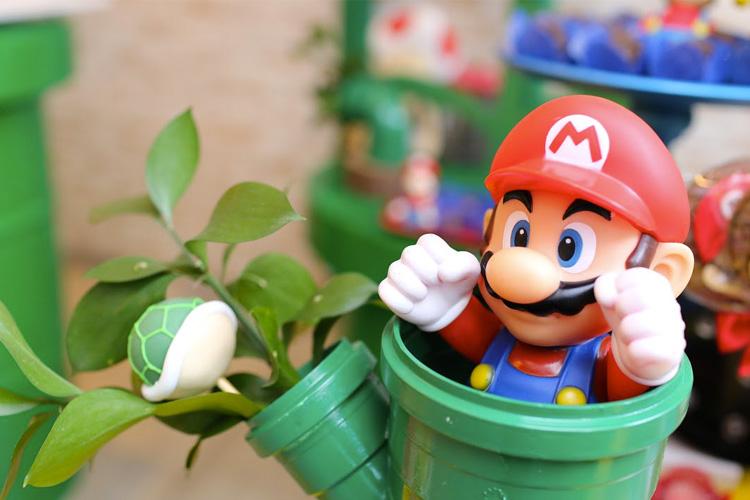 Detalhes da decoração Festa Super Mario Bros Mi Casa It Mãe