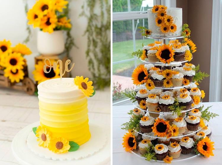 Bolo e cupcakes com o tema girassol It Mãe