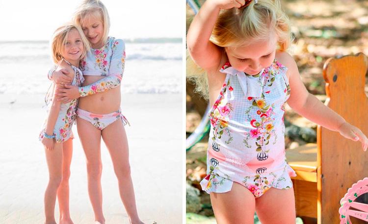 Maiô infantil floral Lului Bikinis It Mãe