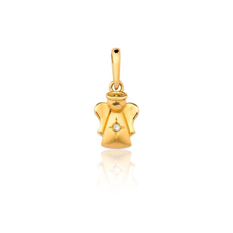 Presente afetivo Mini La Joie - pingente ouro anjo da guarda - It Mãe
