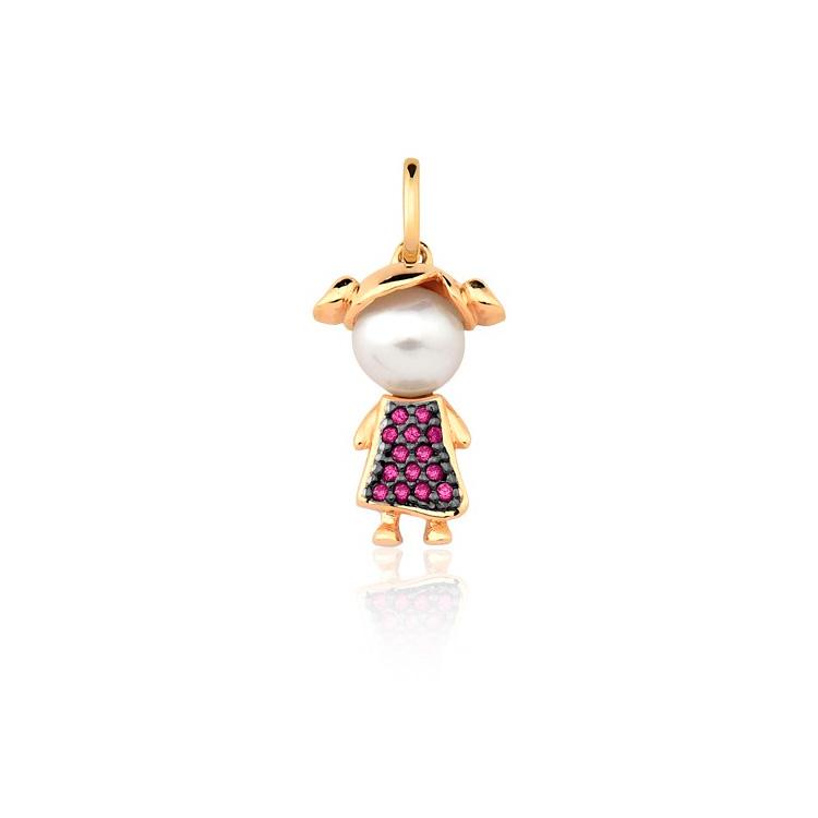 Presente afetivo Mini La Joie - pingente ouro menina - It Mãe