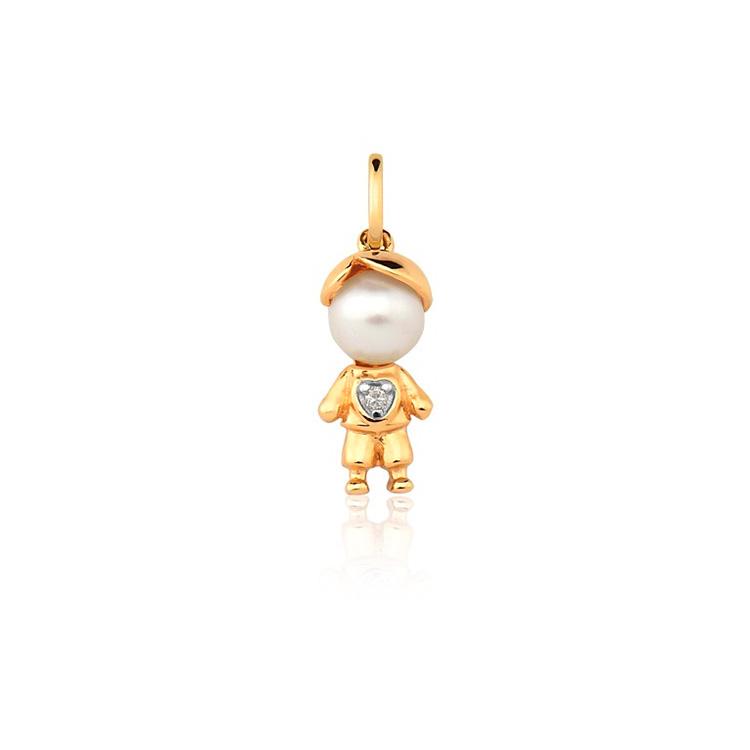 Presente afetivo Mini La Joie - pingente ouro menino - It Mãe
