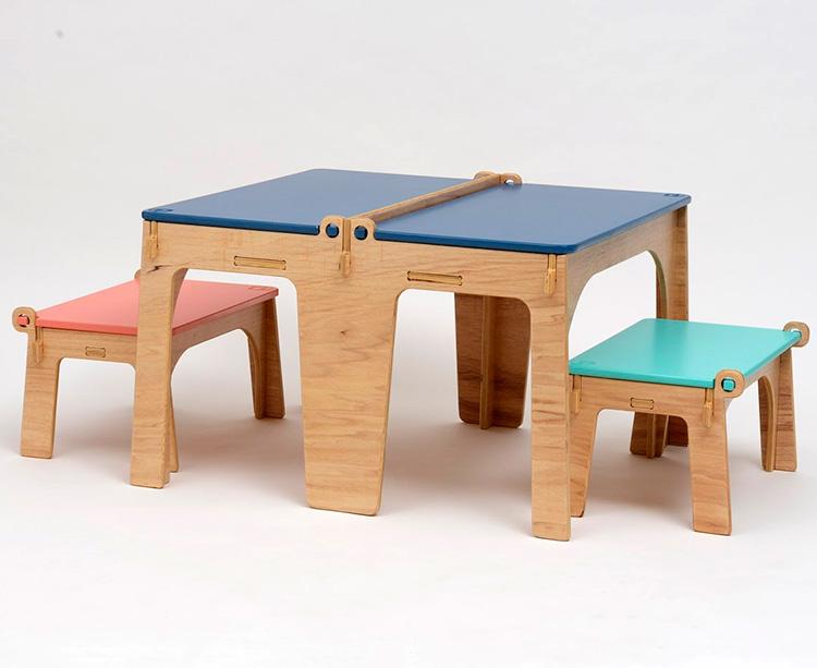 Rotina lúdica com móveis divertidos mesa e banco esconde esconde Lilu Design - It Mãe