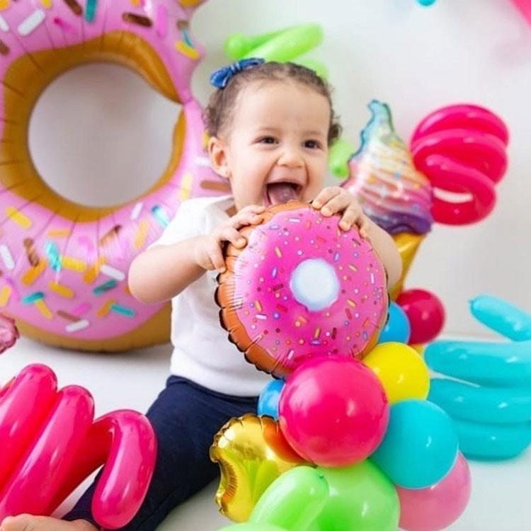 Donut plástico decoração para o dia das crianças Rica Festa It mãe
