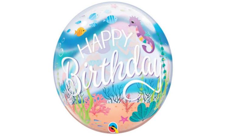 Balão Bubble Happy Birthday Sereia -  It Mãe
