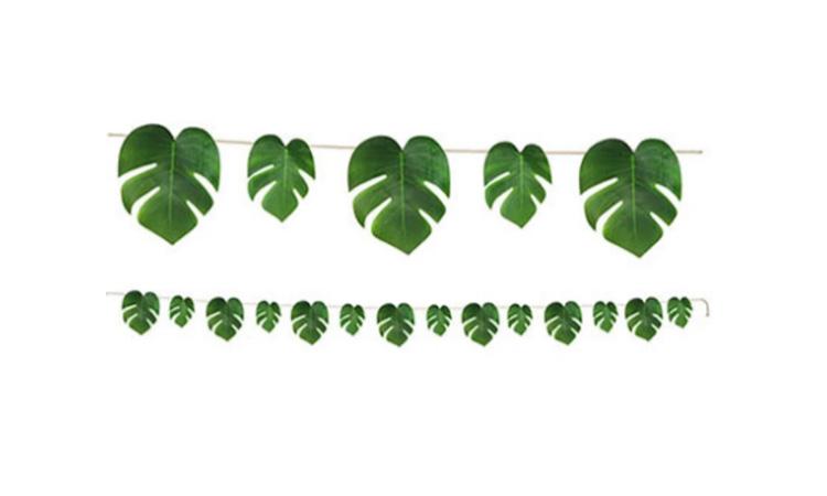 Decoração para festa luau: bandeirola de folhas - Rica Festa