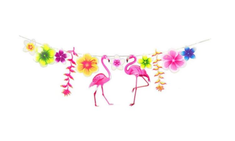Decoração para festa luau: cordão flamingos - Rica Festa