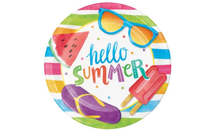 Prato Papel Hello Summer com 8 para a festa praia - Rica Festa It Mãe