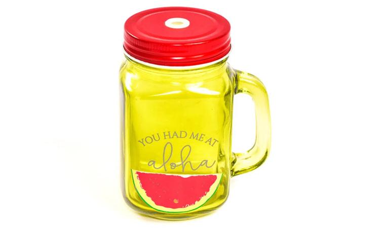 Decoração para festa luau: Mason jar de melancia - Rica Festa