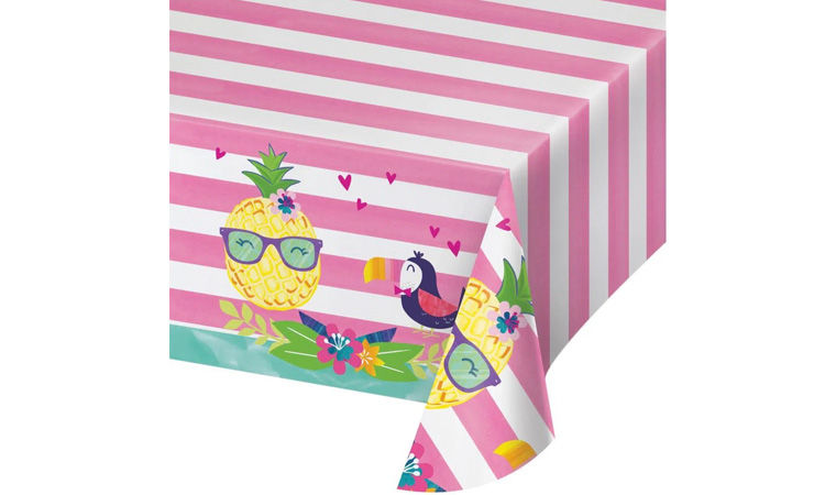 Decoração para festa luau: toalha de mesa tropical - Rica Festa
