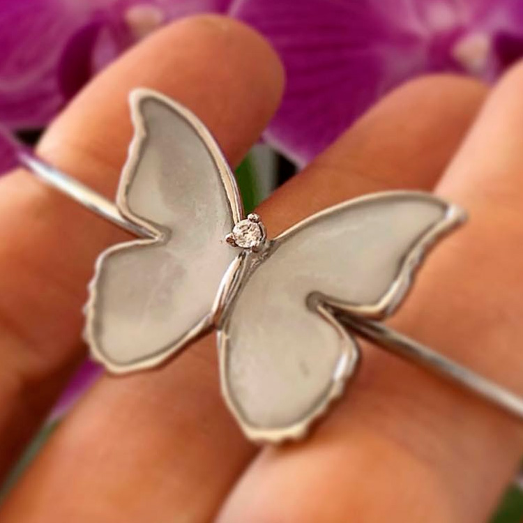 Bracelete em prata borboleta Joia de Leite - It Mãe