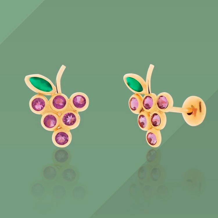 Brinco Infantil cacho de uva Mini La Joie - Joias que combinam com o verão - It Mãe