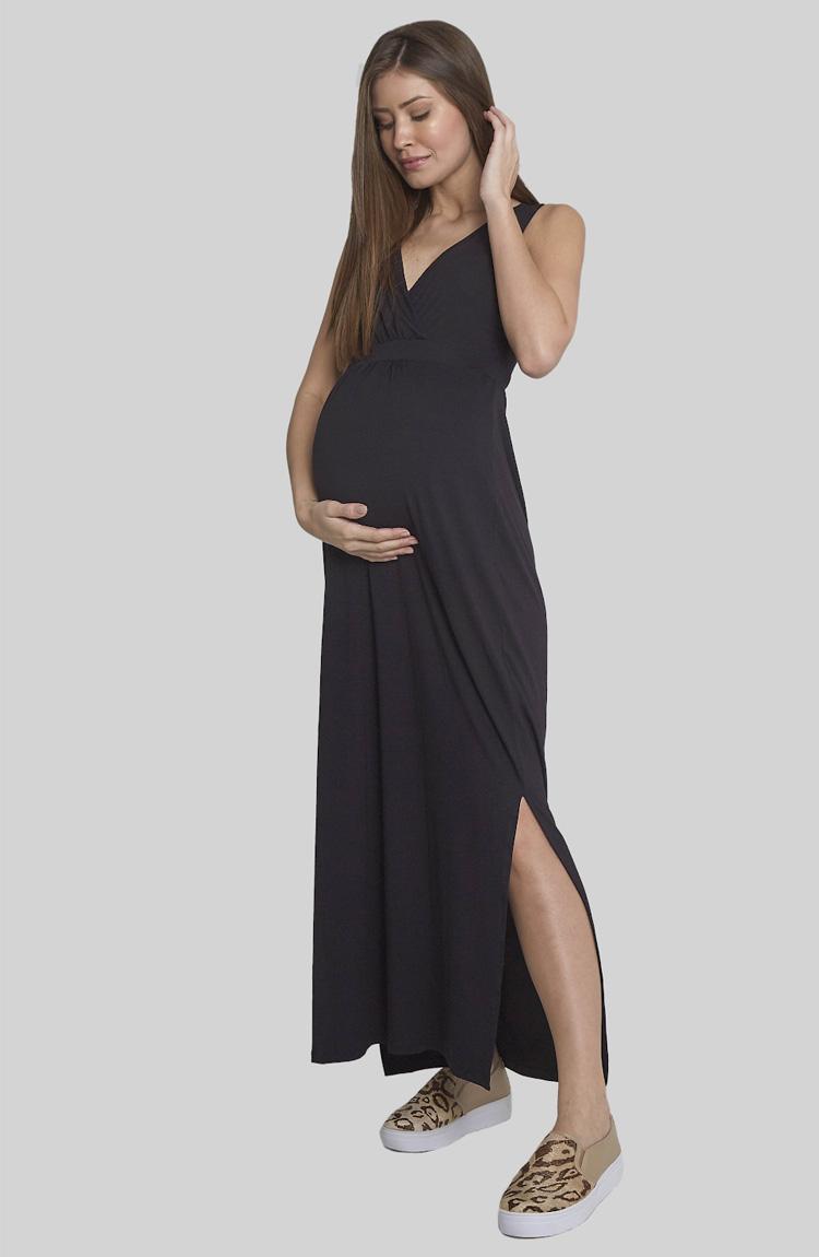 vestido longo guarda-roupa para gestante Moda Melancia - It Mãe