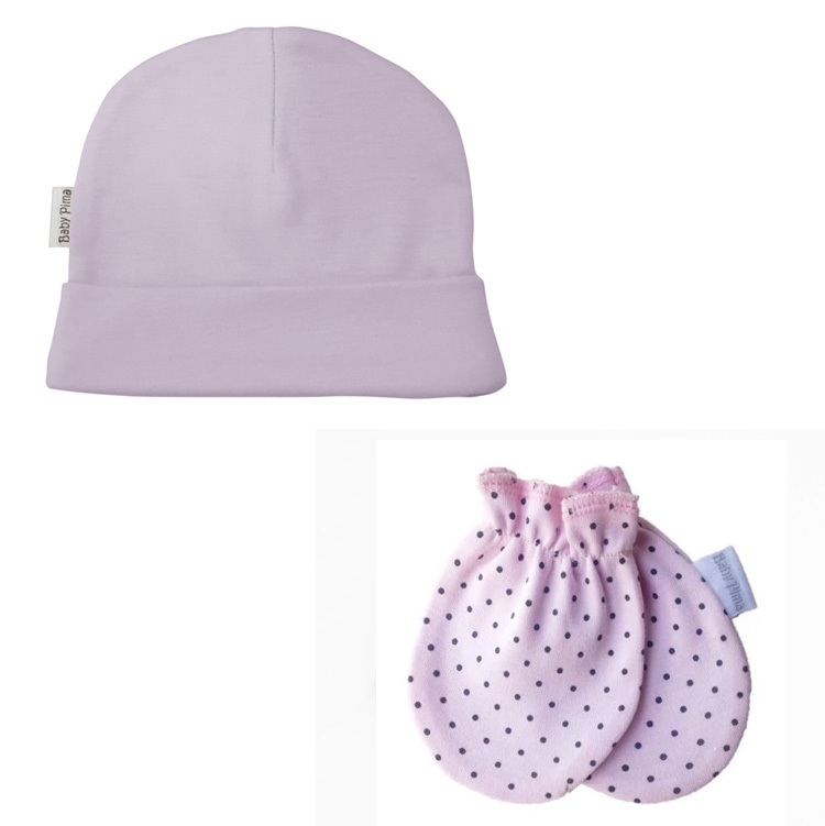 Luvas e gorros rosa com poá - Baby Pima - It Mãe
