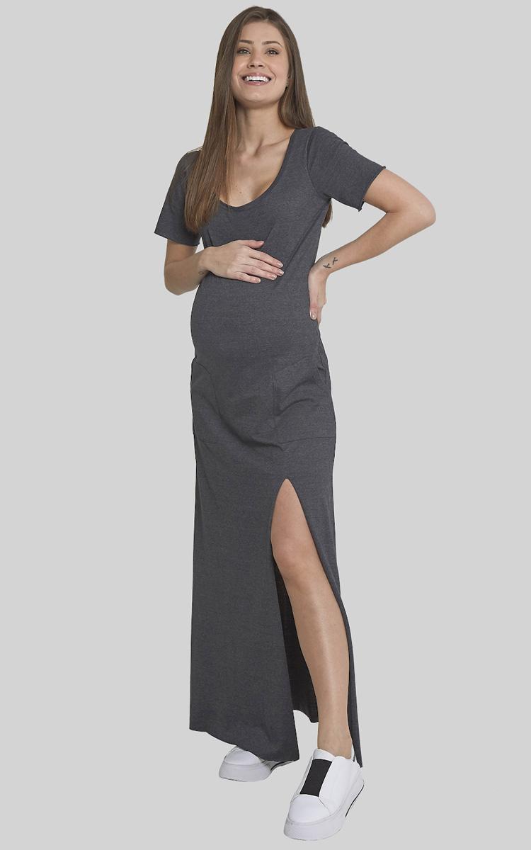 Moda Melancia - Vestido Gestante Tangerina Cinza Chumbo - It Mãe