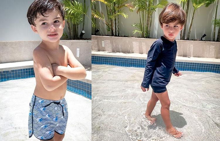 bermuda e camiseta com proteção UV moda praia ecológica planet beach brasil it mãe