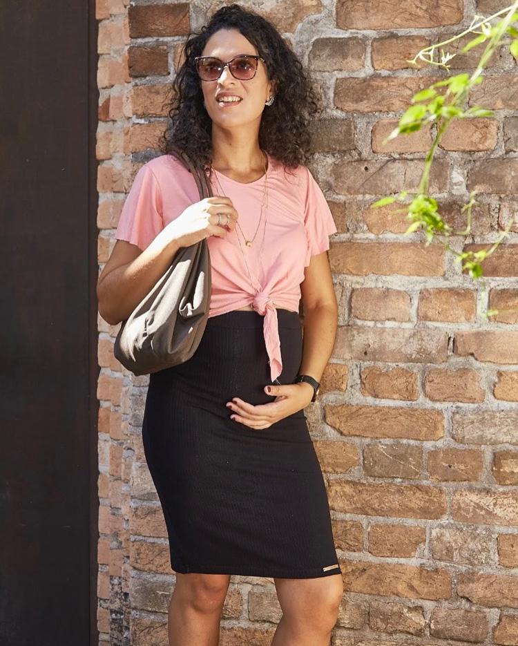 camiseta e saia para grávida fashion melancia it mãe