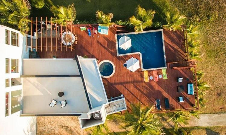 Vista aérea casa no lago Rancho Mamata - It Mãe
