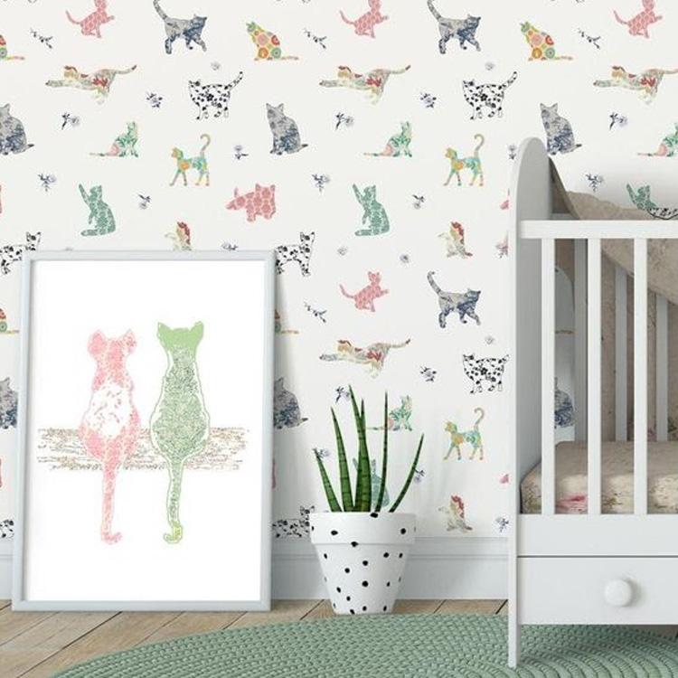 It Mãe - Elefantinho Colorido - quarto das pequenas - papel de parede gatinhos