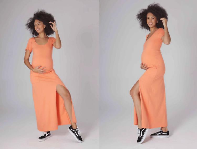vestido tangerina grávida fashion melancia it mãe