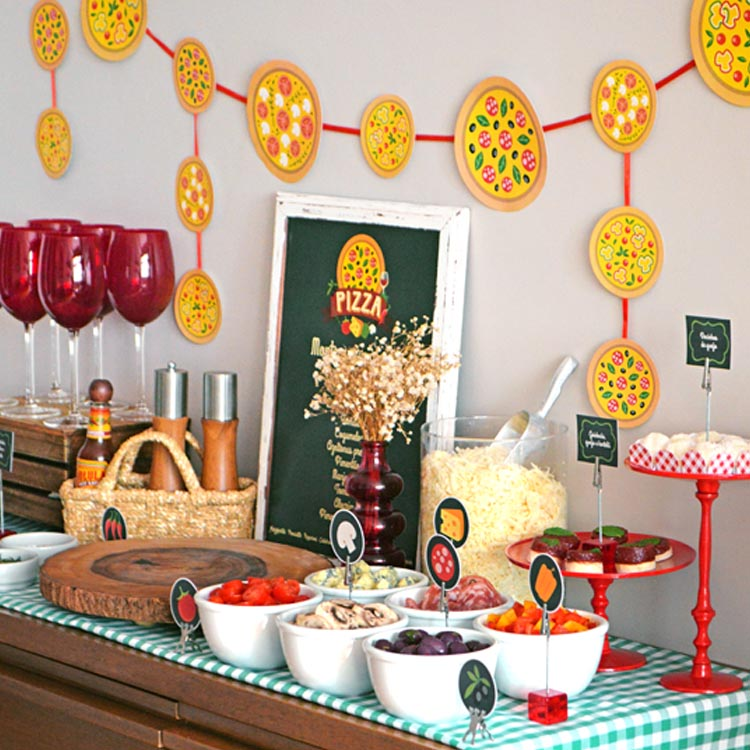 Mesa decorada noite da pizza - It Mãe