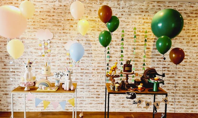 Temas para festas de aniversário sem personagens Unicórnio e Dinossauro Bella Idea - It Mãe