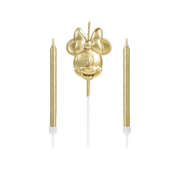 Trio de velas Minnie dourado - It Mãe