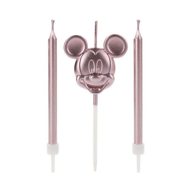 Trio de velas Mickey Mouse rosé - It Mãe